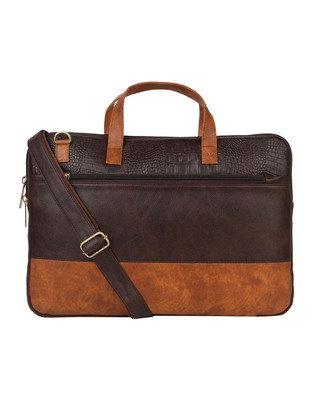 Shop Vivinkaa Faux Leather Coffee/Tan Padded Laptop Messenger Bag For Men & Women-Front