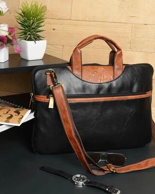 Shop Vivinkaa Faux Leather 15.6 inch Contrast Black Padded Laptop Messenger bag for Men & Women-Front