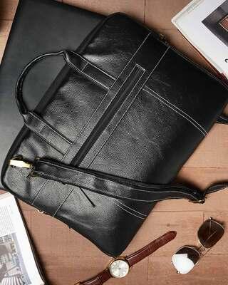 Shop Vivinkaa Faux Leather 15.6 inch Full Black Padded Laptop Messenger bag for Men & Women-Front