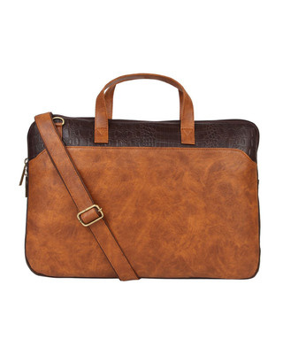 Shop Vivinkaa Faux Leather Tan/Brown Padded Laptop Messenger Bag For Men & Women-Front
