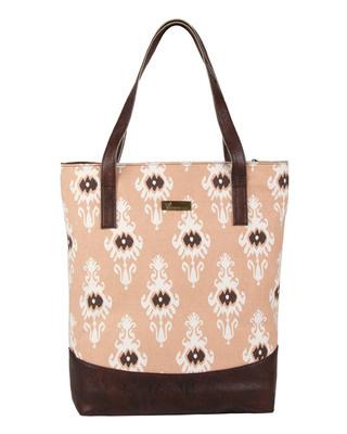 Shop Vivinkaa Faux Leather Canvas Maroon Ikat Handbag-Front