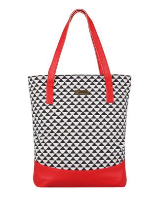 Shop Vivinkaa Faux Leather Canvas Red Zig Handbag-Front