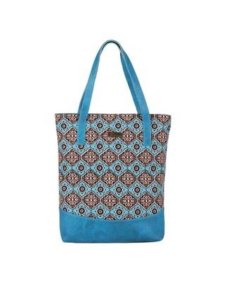 Shop Vivinkaa Faux Leather Canvas Teal Floral Handbag-Front