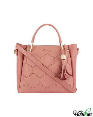 Shop Vivinkaa Faux leather embroidery handle pink round sling bag-Front