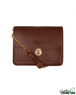 Shop Vivinkaa Faux leather Mini Box Coffee Sling Bag-Front