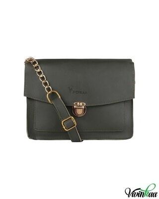 Shop Vivinkaa Faux leather Mini Box Olive Sling Bag-Front