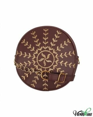 Shop Vivinkaa Faux leather round embroidery sling bag-Coffee-Front