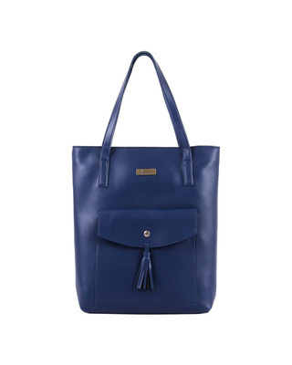 Shop Vivinkaa Front Pocket Detail Solid Tote-Navy-Front