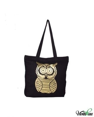 Shop Vivinkaa Gold Owl Printed Solid Tote-Front
