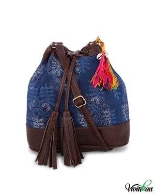 Shop Vivinkaa Indigo Print Bucket Sling Bag-Front