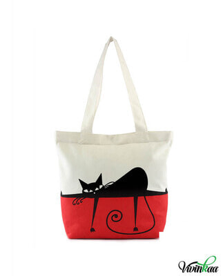 Shop Vivinkaa Lazy Cat Printed Solid Tote-Front