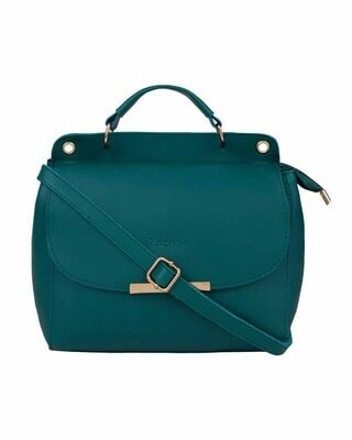 Shop Vivinkaa Leatherette Flap Compartment Aqua Sling Bag-Front
