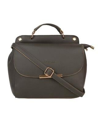 Shop Vivinkaa Leatherette Flap Compartment Grey Sling Bag-Front