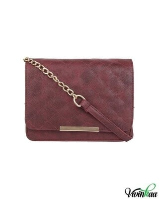 Shop Vivinkaa leatherette maroon quilt embroidered pink sling-Front