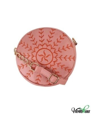 Shop Vivinkaa leatherette round embroidered pink sling-Front