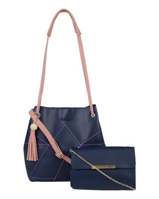 Shop Vivinkaa Leatherette Set of 2 Embroidered Navy Sling Bag-Front