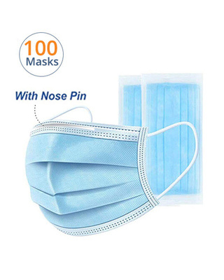Shop Vivinkaa Pack of 100-3 Ply Disposable Mask With Meltblown & Inbuilt Nosepin-Front