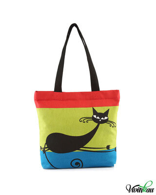 Shop Vivinkaa Sit Cat Printed Solid Tote-Front
