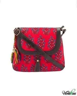 Shop Vivinkaa Tassel Detail Printed Sling Bag-Front