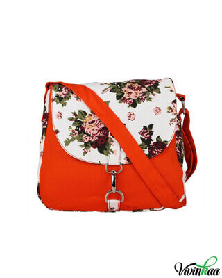 Shop Vivinkaa White Floral Printed Cross-Body-Front