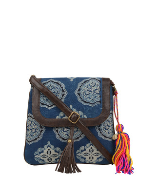 Shop Vivinkaa Womens Ethnic Leatherette/Cotton Blue Stamp Tassle Sling Bag-Front
