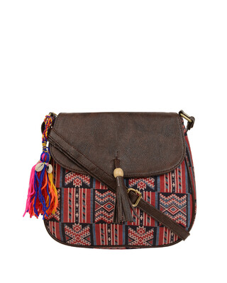 Shop Vivinkaa Womens Ethnic Leatherette/Cotton Red Artist Tassle Sling Bag-Front