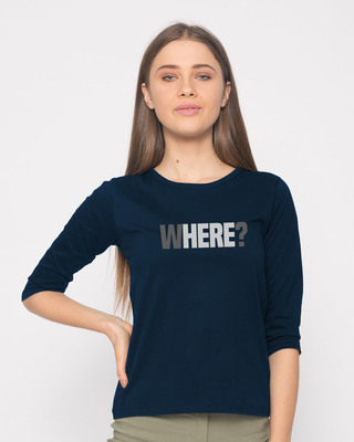 Shop W-here Round Neck 3/4th Sleeve T-Shirt-Front