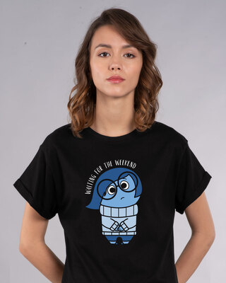 Shop Waiting Sadness Boyfriend T-Shirt (DL)-Front