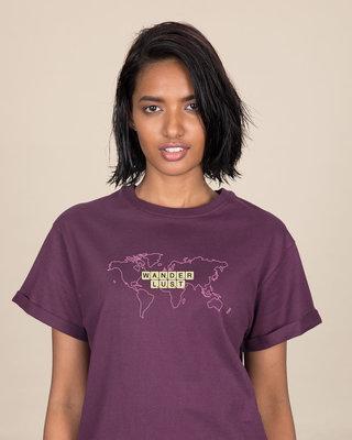 Shop Wanderlust Scrabble Boyfriend T-Shirt-Front