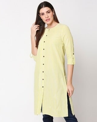Shop Women's Stripe Yellow Long Kurta-Front