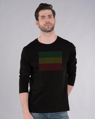 Shop Weed Leaf Line Full Sleeve T-Shirt-Front