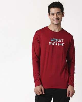 Shop Weedon't Full Sleeve T-Shirt Cherry Red-Front