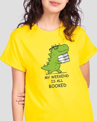 Shop Weekend Booked Boyfriend T-Shirt Pineapple Yellow-Front