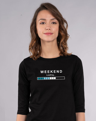 Shop Weekend Loading Round Neck 3/4th Sleeve T-Shirt-Front