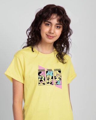 Shop Weekend Minnie Boyfriend T-Shirt (DL) Pastel Yellow-Front