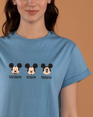 Shop Weekend Mood Mickey Boyfriend T-Shirt (DL)-Front