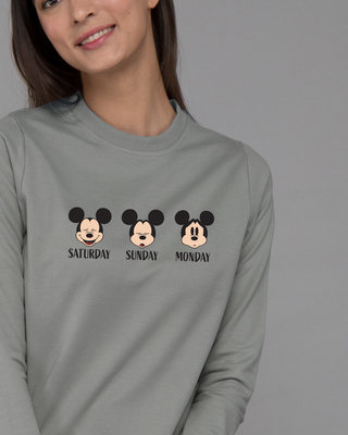 Shop Weekend Mood Mickey Fleece Light Sweatshirt (DL)-Front