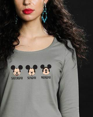 Shop Weekend Mood Mickey Scoop Neck Full Sleeve T-Shirt (DL)-Front
