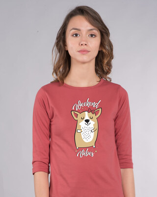 Shop Weekend Vibes Corgi Round Neck 3/4th Sleeve T-Shirt-Front