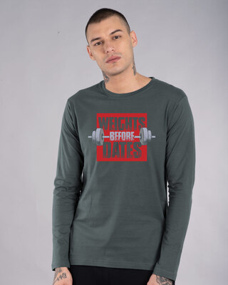 Shop Weights Before Dates Full Sleeve T-Shirt-Front