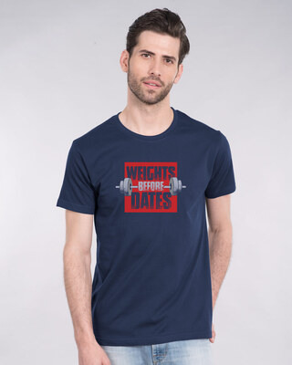 Shop Weights Before Dates Half Sleeve T-Shirt-Front