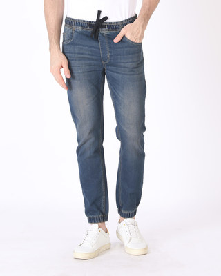 Shop Western Blue Denim Joggers-Front