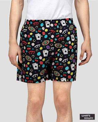 Shop What's Down | Black All In Boxer Shorts | Casino Boxers-Front