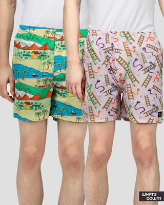 Shop What's Down | Nostalgia Boxers Combo (Pack of 2)-Front
