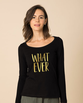 Shop Whatever Gold Gradient Scoop Neck Full Sleeve T-Shirt-Front