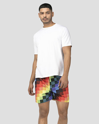 Shop Whats Down Multicolour Pixels Boxer-Front