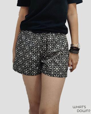 Shop Whats Down Women's B&W Roses Boxer-Front