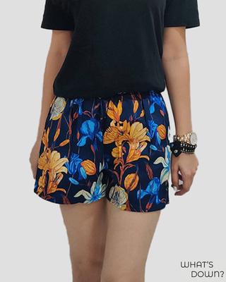 Shop Whats Down Women's Blue Floral Boxer-Front