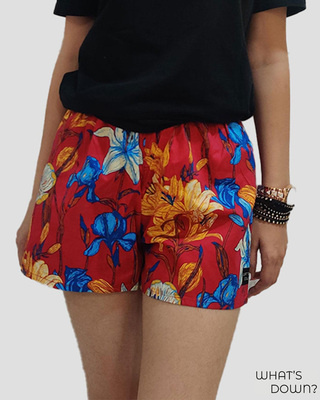 Shop Whats Down Women's Red Floral Boxer-Front