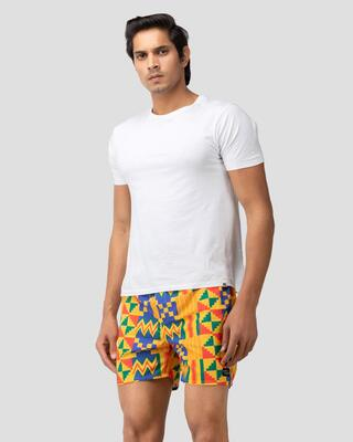 Shop Whats Down Yellow Tribal Boxer-Front